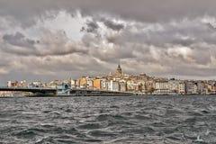 Istanbul panoramique, pont de Galata Image libre de droits