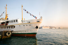 Istanbul passenger ferry docked on the Bosphorus Royalty Free Stock Photos