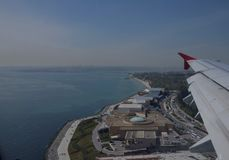 Istanbul Port, Turkey. A bird`s eye view of Istanbul Port in Turkey from a civil aviation aircraft stock photos
