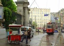 Istanbul rain street tram Royalty Free Stock Image