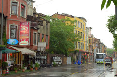 Istanbul rainy street view Royalty Free Stock Photos