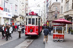 Istanbul Red Tram Stock Image