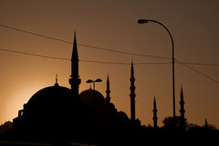 Istanbul's Golden Horn Skyline. Busy Istanbul skyline including the Süleymaniye and Rüstem Pasha Mosques, backlit by a brown toned sunset Stock Image