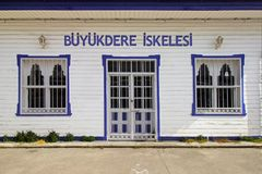 Istanbul, Sariyer / Turkey 04.29.19 : Buyukdere Pier, Old Wooden Dock Entrance View stock photography