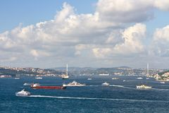 Istanbul sea traffic Royalty Free Stock Photos