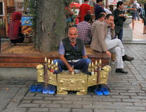 Istanbul:  Shoeshiner Craving for Customers Royalty Free Stock Photo