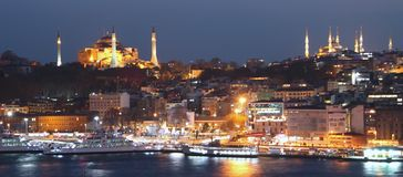 Istanbul sightseeing by night: Hagia Sofia and cit Royalty Free Stock Photo