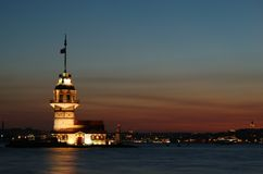 Istanbul sightseeing by night: Maiden Tower  Royalty Free Stock Photography