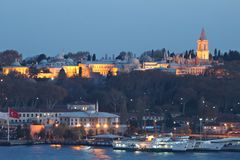 Istanbul sightseeing by night: Topkapi Palace Royalty Free Stock Photos