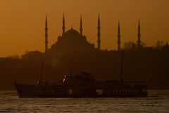 Istanbul Silhouette. A mosque silhouette of Istanbul Stock Images