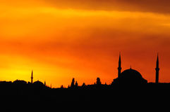 Istanbul silhouette. The beautiful  silhouette of istanbul Stock Images
