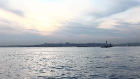 Istanbul silhouette. Blue Mosque and Hagia Sophia Stock Photos