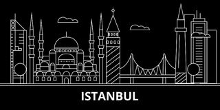 Istanbul silhouette skyline. Turkey - Istanbul vector city, turkish linear architecture, buildings. Istanbul travel vector illustration
