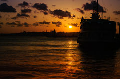 Istanbul Silhouette Sunset Royalty Free Stock Photo