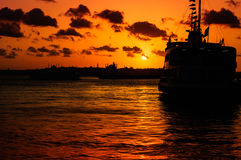 Istanbul Silhouette Sunset Royalty Free Stock Photos