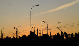 Istanbul Silhoutte photo at Galata Bridge Royalty Free Stock Images