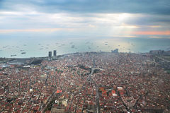 Istanbul Skyline from the airplane Royalty Free Stock Photo