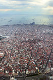 Istanbul Skyline from the airplane. Overview of Istanbul from the airplane Royalty Free Stock Photo