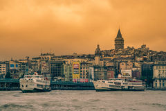 Istanbul skyline. Istanbul city panorama with famous Galata tower on the hill Stock Photography