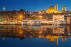 Istanbul skyline from Galata bridge by night Stock Image