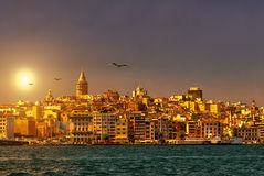 Istanbul skyline with Galata Tower at sunset Stock Image
