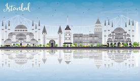Istanbul Skyline with Gray Landmarks, Blue Sky and Reflections. Royalty Free Stock Image