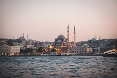 Istanbul Skyline of mosque near galata bridge Stock Images