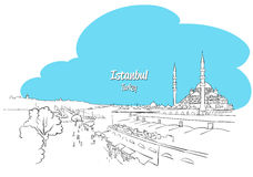 Istanbul Skyline Panorama sketched Greeting Card Royalty Free Stock Photography