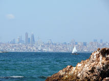 Istanbul Skyline with Sailing Boat from the Princes Islands Royalty Free Stock Photography