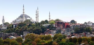 Istanbul Skyline with Suleymaniye Mosque Stock Images
