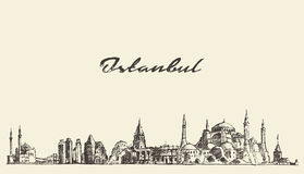 Istanbul skyline Turkey illustration drawn sketch. Istanbul detailed skyline Turkey vintage engraved illustration hand drawn sketch Royalty Free Stock Photos