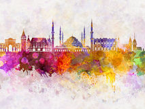 Istanbul skyline in watercolor Royalty Free Stock Images