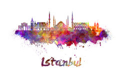 Istanbul skyline in watercolor Stock Images