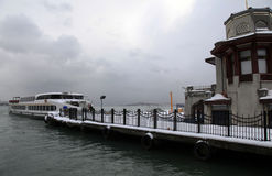 Istanbul in a snowy winter day. Royalty Free Stock Image