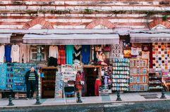 Istanbul souvenir and local street shops in tourist area stock images