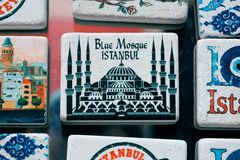 Istanbul souvenir magnets in Ottoman tile style Stock Photo