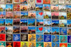 Istanbul souvenir magnets with pictures of mosque. Istanbul souvenir magnet with picture of a mosque at the street market royalty free stock photos