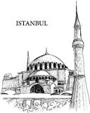 Istanbul St. Sophia cathedral sketch. A pencil drawing of Hagia Sophia in Istanbul, Turkey Stock Photo