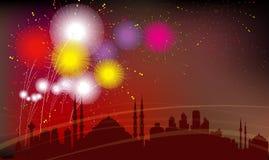 Istanbul-Stadt-Schattenbild, Feier, Feuerwerke Lizenzfreie Stockfotos