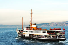 Istanbul steamboat. Bosphorus steamboat istanbul bosphorus bridge turkey royalty free stock image