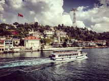 Istanbul strait bosphorus tour ships boats turkey stock photography
