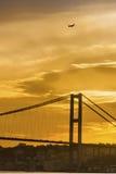 Istanbul strait, evening views of the Bosphorus Bridge Stock Images