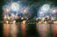 Istanbul Strait Fireworks Show Stock Images