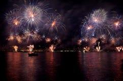 Istanbul Strait Fireworks Show Royalty Free Stock Image