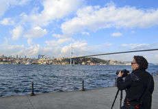 Istanbul Strait views. A photographer landscape viewing. Royalty Free Stock Images
