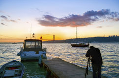 Istanbul Strait views. A photographer landscape viewing. Stock Photography