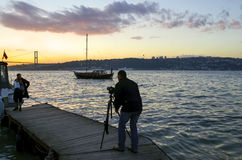 Istanbul Strait views. A photographer landscape viewing. Royalty Free Stock Photos