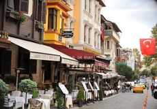 Istanbul street. Beautiful small cafe and restaurants in Istanbul street stock photo