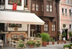 Istanbul street. Beautiful small cafe and restaurants in Istanbul street stock photography