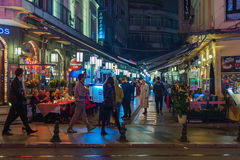 Istanbul street restaurants at night Royalty Free Stock Images